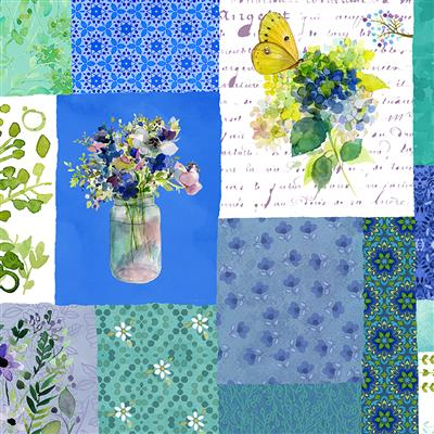 Painted Patchwork Digital Patchwork Blues