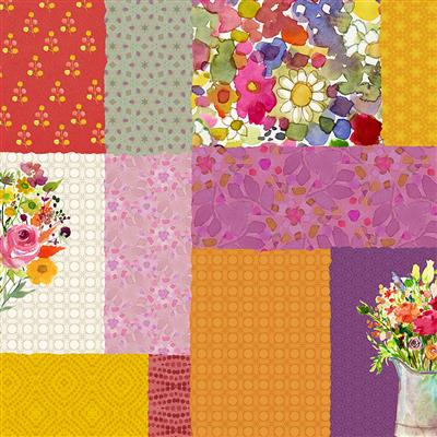 Painted Patchwork Digital Patchwork Berry