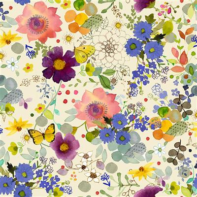 Painted Patchwork Digital Floral Fancy