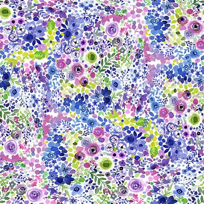 Painted Patchwork Digital Berry Floral